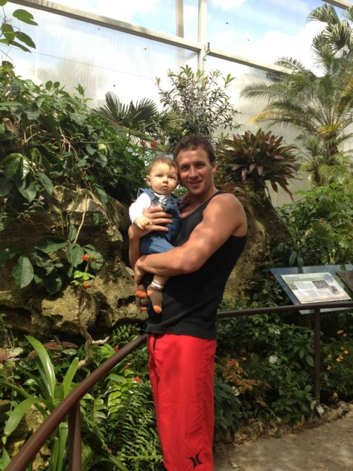 Olympic swimmer Ryan Lochte with his baby nephew.