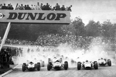 burning rubber …start of the 1966 US Grand Prix, Watkins GlenJim Clark would win the race in the Lotus-BRM 43, the only Grand Prix ever won with a BMR H16 engine