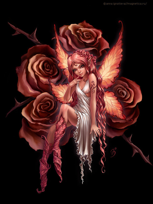 Hada y rosas. Fairy and Roses.