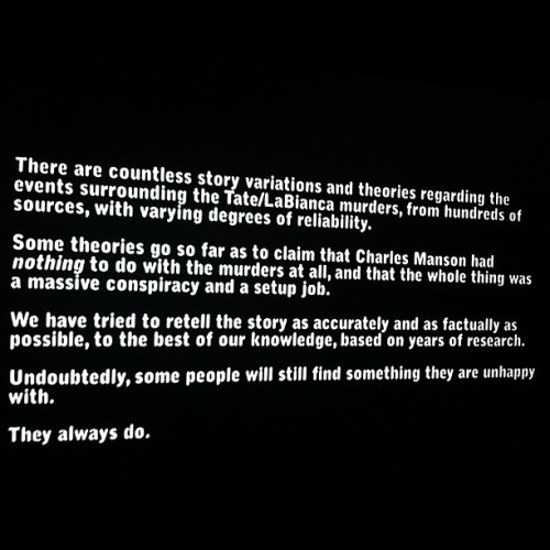 The last two lines of the intro to this Helter Skelter documentary could have only been written by the filmmaker's passive-aggressive mother.  (Taken with Instagram)