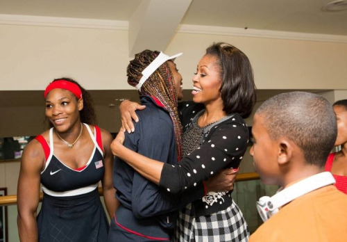 pearlfectchassi:  Love! FLOTUS congratulating Venus and Serena!