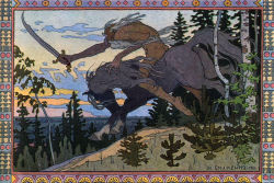 Koschei the Deathless from Marya Morevna 1900  Ivan Bilibin was born in a suburb of St. Petersburg. He studied in 1898 at Anton Ažbe Art School in Munich, then under Ilya Repin in St. Peterburg. In 1902-1904 Bilibin travelled in the Russian North, where he became fascinated with old wooden architecture and Russian folklore. He published his findings in the monograph Folk Arts of the Russian North in 1904. Another influence on his art wastraditional Japanese prints. Bilibin gained renown in 1899, when he released his illustrations of Russian fairy tales. During the Russian Revolution of 1905, he drew revolutionary cartoons. He was the designer for the 1909 première production of Nikolai Rimsky-Korsakov's The Golden Cockerel. The October Revolution, however, proved alien to him. After brief stints in Cairo and Alexandria, he settled in Paris in 1925. There he took to decorating private mansions and Orthodox churches. He still longed for his homeland and, after decorating the Soviet Embassy in 1936, he returned to Soviet Russia. He delivered lectures in the Soviet Academy of Arts until 1941. Bilibin died during the Siege of Leningrad.
