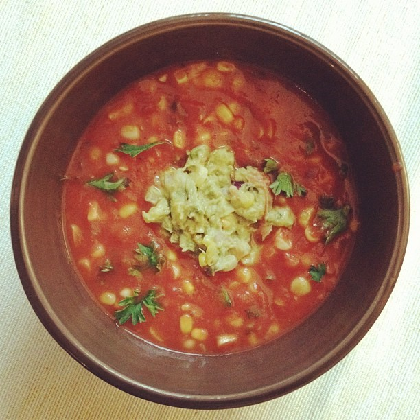 Corn and heirloom soup. Roasted corn guacamole. (Taken with Instagram)