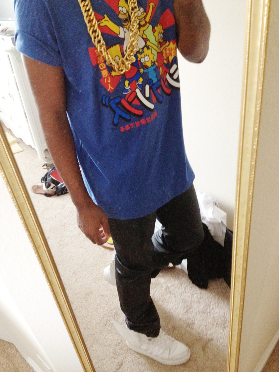 creatured:  Gold chain, Simpsons J-Shirt, Marc Jacobs Waxed Jean, and Jeremy Scott Winged 2.0.