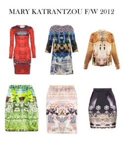 Mary Katrantzou F/W 2012, what a beautiful collection for the fall and winter! The patterns are working really well together, same with the mixed colors. Mixing patterns are very in at the moment, which is gorgeous. This collection is an amazing example!