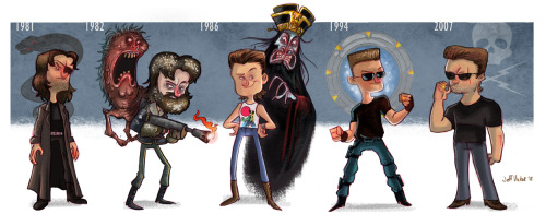 heyoscarwilde:  The evolution of Kurt Russell illustration by Jeff Victor :: via jeffvictor.blogspot.ca
