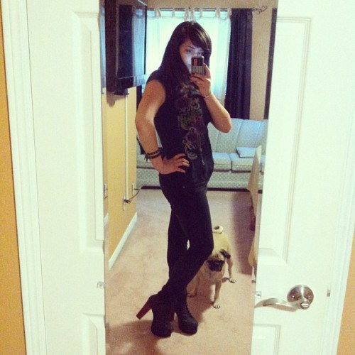 Yay #OOTD #shoes #litas #jeffreycampbell disregard the lurking nosey #pug (Taken with Instagram)