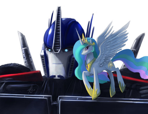 Optimus Primce and Princess Celestia. They were the chosen ones from a little poll I did for TFP/MLP crossover.