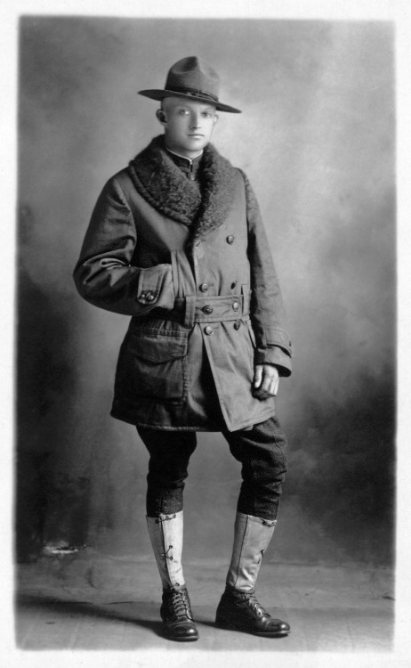 1bohemian:  Wartime era portrait of a typical American doughboy, circa: 1918.