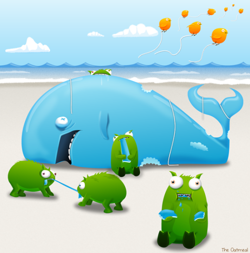 candybabybits:  Tumbeasts and the Fail Whale go to The Beach by The Oatmeal