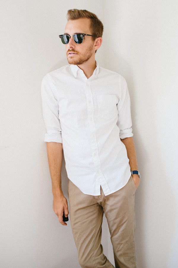 stayclassic:  August 5, 2012. It's a white oxford and khaki kind of day as I edit photos and listen to Iron Maiden. Shirt: J. Crew Pinpoint Oxford - $29 (sale) (similar)Pants: J. Crew - Stanton Pant in 484 fit - $75Sunglasses - Ray Ban Clubmaster - $89Watch: Timex Weekender - $30 (Overstock.com) with blue strap from Target  View on: Lookbook.nu | Chictopia
