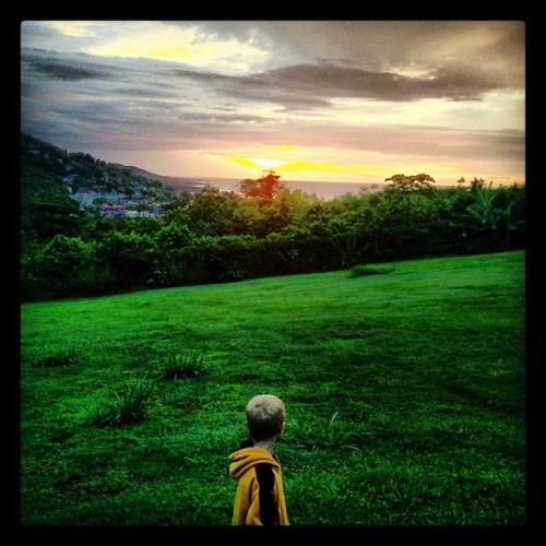 Sunset in Jamaica, day 2, with a guest appearance by @jamieshupak's nephew. (Taken with Instagram)