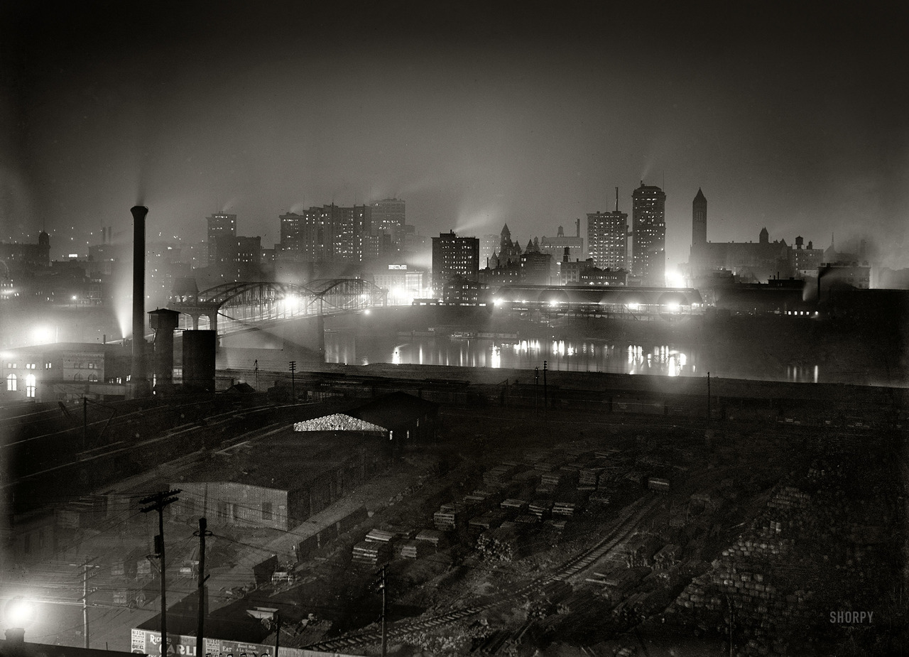 Pittsburgh by night, circa 1907.