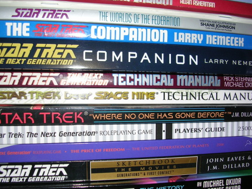 My shelf of Star Trek books. Yes, I do have 3 versions of the Star Trek Encyclopedia. This was before Memory Alpha. Deal with it.