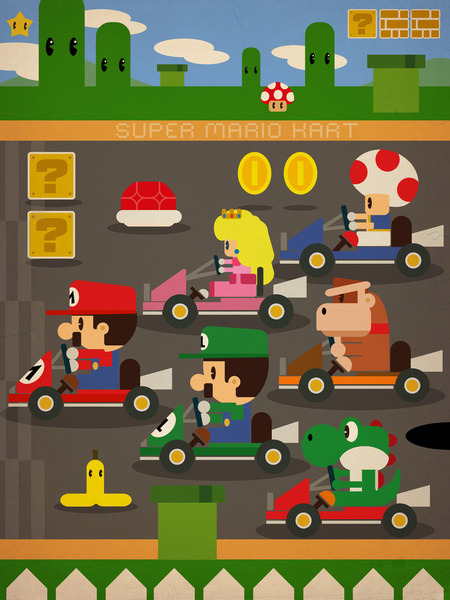 copiouslygeeky:  Mario Kart 2D Created by Danvinci