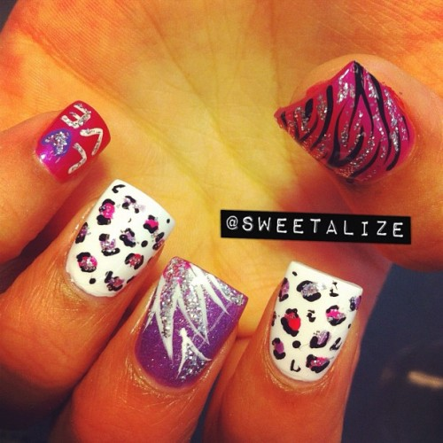 #pink #purple #chinaglaze #acrylicnails #gelnails #leopard #cheetah #zebra #leopardprint #cheetahprint #animalprint #zebrastripes #zebraprint (Taken with Instagram)