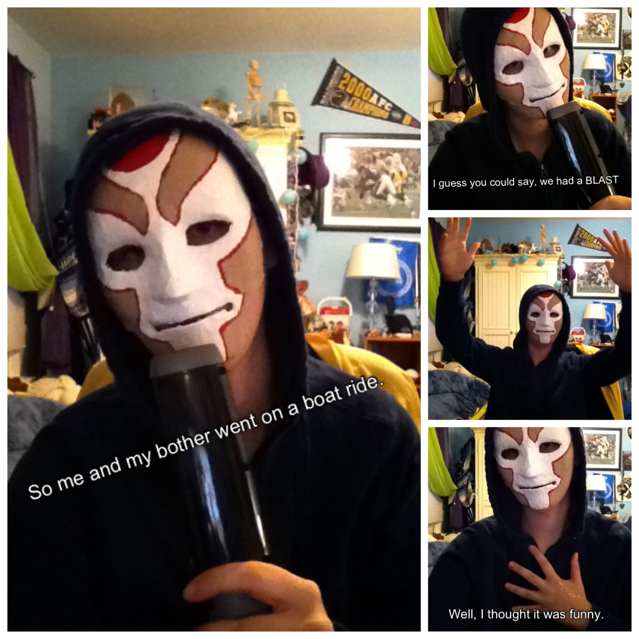 theninjarabbit:  So I made an Amon mask and this kinda just happened. I'm sorry  Not really sorry