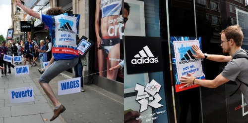 "UK protesters rally against ADIDAS worker exploitationAugust 5, 2012 Anti-exploitation campaigners have demonstrated outside Olympic sponsor Adidas's flagship London store over claims the sportswear giant is ""raking in profits"" at its workers' expense. Members of the War on Want charity gathered in Oxford Street where they held a hurdle race as part of its ""Exploitation Games"" protest. The group said it wanted to highlight the ""stark contrast"" between Adidas's reported £100m sales of Olympic merchandise and the plight of workers in places like Indonesia, which it says are paid as little as 34p an hour and working up to 90 hours per week. Murray Worthy, of War on Want, said: ""These Exploitation Games expose the ugly truth behind Adidas's failure to uphold the Olympics values of fair play and respect. Adidas must stop raking in profits at workers' expense and instead ensure their pay reflects the vital part they play in its success."" Demonstrations also took place in Manchester and Exeter, according to the group, who, in the run up to the protests, said it hoped to target more than a dozen stores around the UK. A spokesperson for War on Want said the Oxford Street protest included activists ""confronting the hurdles faced by Adidas workers, such as poverty wages and up to 90-hour weeks, and, after the Olympics cheats scandal, badminton to symbolise alleged unfair play by Adidas"". The group claimed workers in the Philippines, Indonesia, Sri Lanka and China, receive far less than a living wage and workers in Cambodia earn £10-a-week basic pay. Adidas, however, hit back at War on Want's claims saying it was ""fully committed"" to protecting worker rights and accused the charity of ""pursuing a strategy of disruption"" saying its requests to meet with the group had so far been met with a wall of silence. A spokesman said: ""Adidas respects the right to peaceful protest but we strongly refute War on Want's claims. We take all allegations about working conditions extremely seriously but it is very important to note that the independent women's NGO Phulki, which visits our factories on a monthly basis, found absolutely no evidence to support the allegations being made. ""As part of that commitment, we recently contacted War on Want on two separate occasions to discuss the claims made in their last report but we are yet to hear back from them on this. We have enjoyed an open and constructive dialogue with many NGOs for years, but it seems War on Want are more interested in pursuing a strategy of disruption rather than engaging with us to talk about these issues. ""Adidas is confident we are adhering to and, in fact, exceeding the high standards set by Locog and we would urge War on Want to deal in fact rather than fiction."" SourcePhoto"