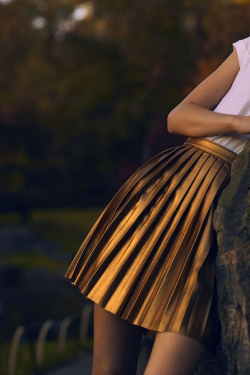 adultrunaway:  metallics + pleats. two of my favorites in one.