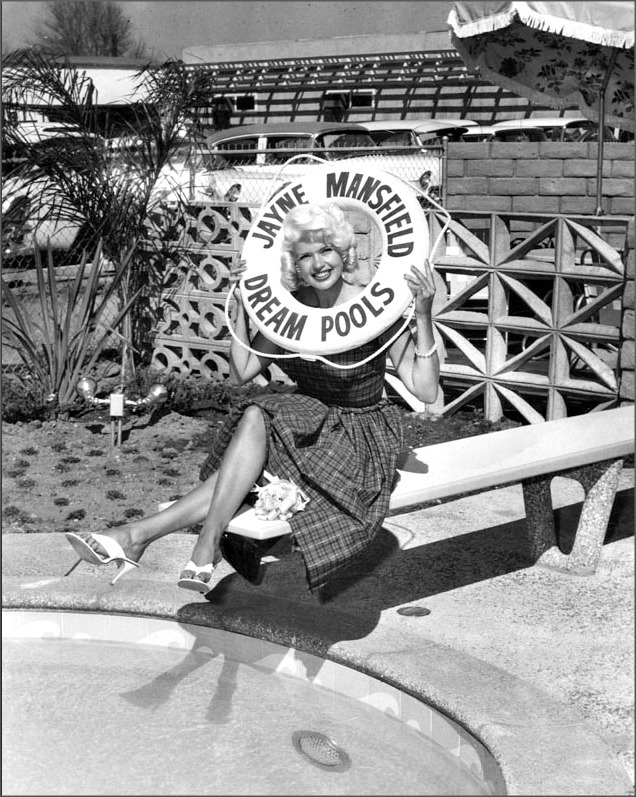 "Jayne, 1959 ""Jayne Mansfield inaugurates first 'Jayne Mansfield Dream Pool' showroom at 6120 Sepulveda Blvd., Van Nuys, at special ceremonies and cocktail party for the Press."""