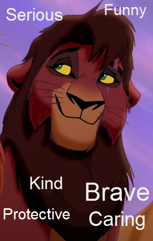 "Kovu Inner beauty: Kovu is noted by many to bear a strong resemblance to Scar, especially after his face is scarred, despite not being related to Scar.  As a cub, he is shown to be very innocent and friendly, though he does take a moment to playfully tease Kiara when they first meet. As an adult, he has been trained by Zira to hate Simba and the rest of Simba's pride. However, this changes as he falls in love with Kiara, where he grows reluctant to carry out Zira's plan, and becomes more friendly and caring. As a result of Zira's harsh treatment, he initially has no concept of having fun. Kovu can be very serious but when you get to know him, he's very caring and sensitive. He's also afraid of the world because he's been intimidated/rejected his whole life but he learns to face his fears and becomes into a very strong-hearted lion. Best Quality/Goal: To avenge Scar and take over the Pride Lands (formerly), To reunite the two prides. Outer beauty: Muscular, brown fur, dark brown mane, emerald green eyes, later in the movie, he receives a scar identicle to Scar's. Quote: ""You'll never hurt Kiara, or Simba, not while I'm here."""