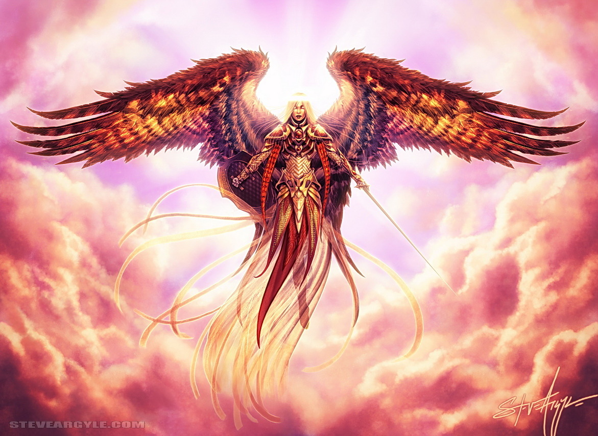 "Angelic Arbiter by *SteveArgyle  And this was the last thing I saw as they punted me out of heaven. They've got these super stingy rules about fraternizing with human women. Lame.In the sketch phase, me and Jeremy (Magic AD,) were experimenting with the idea of a ""covenant"" motif for this. If you check out the sketches ([link]), you'll see that she almost got a face-tattoo of Magic's version of the Ten Commandments. (Which I imagine are way more fun than the real Ten.)For Magic: the Gathering M2011. Art direction by Jeremy Jarvis. Wing styling by Ornicures B' We."