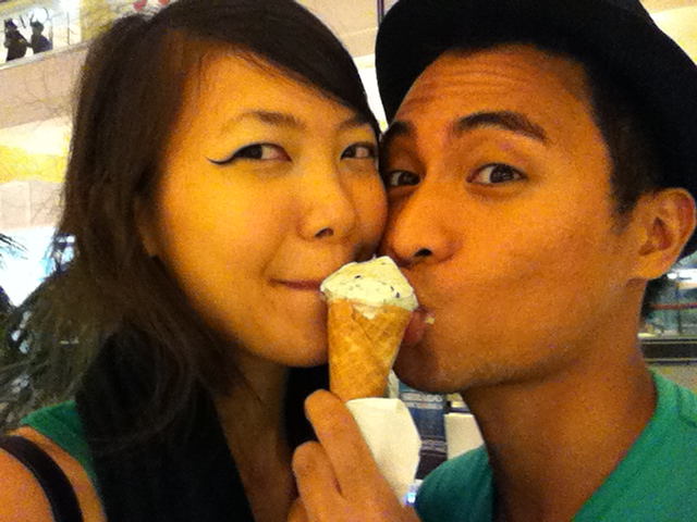 Reduce calories and sugar from ice cream by SHARING with your beloved! :p Food is not just nutritional, it's also emotional. I know that ice cream from industrial farm milk and refined sugar and that cone from refined flour are nutritionally deficient, but this was still the best ice cream I've ever had. :)  Of course— I don't do this every day! And for homemade ice cream I refer you to the excellent paleo ice cream recipe over at the Bulletproof diet: butter egg vanilla goodness that's like Arce Dairy mantecado but better! We don't have an ice cream machine so we actually just drink that stuff straight up when we make it. :D  Also I just wanted to show you guys that I'm far from perfect when it comes to adhering to ideal healthy food. It's a work in progress and I'm not going to condemn anyone for indulging in junk food. I'll just work to raise awareness and hopefully we can change gov't. and big business policies to create a food climate that is more conducive to eating healthy. :)