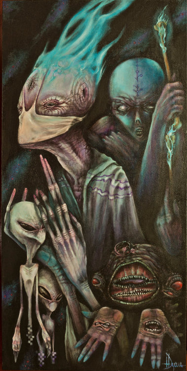 Behind The Veil by Tommy Longtooth. Acrylic on canvas.