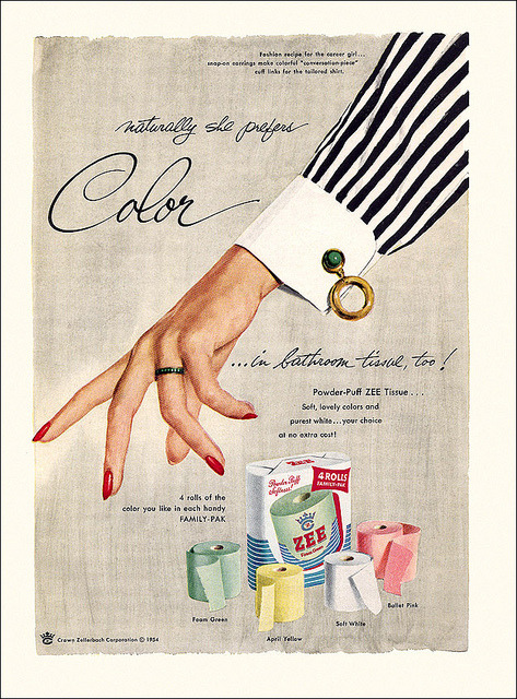 Zee Toilet Tissue Ad, 1954 by alsis35 on Flickr.  Via Flickr: Yeah.  It's all sunshine and daisies until our color-minded career girl gets a perfectly good sleeve snagged in the adding machine.
