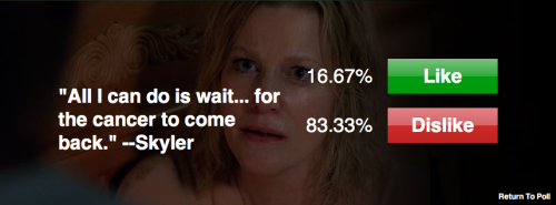 listenupfives:  Looks like 83.33% of people are wrong about Breaking Bad.  The poll results are sad, but this was a great quote. I hope Skyler White becomes the danger.