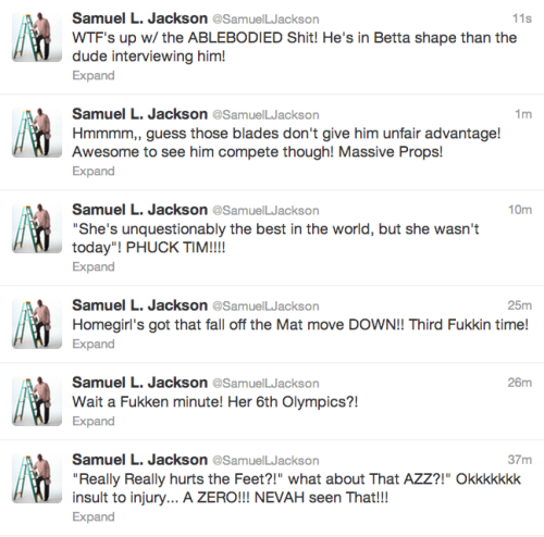 sportspage:  In case you're wondering, @SamuelLJackson is live-tweeting the Olympics.