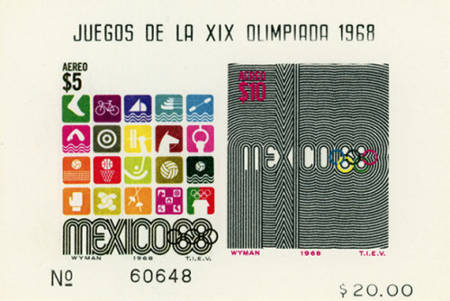 "stampdesigns:  postage stamp designs by Lance Wyman for 1968 Olympic Games in Mexico (above ""Juegos De La XIX Olimpiada 1968"" commemorative sheet features some of Wyman's Olympic sports pictograms and a line pattern design with Mexico68 logotype)"