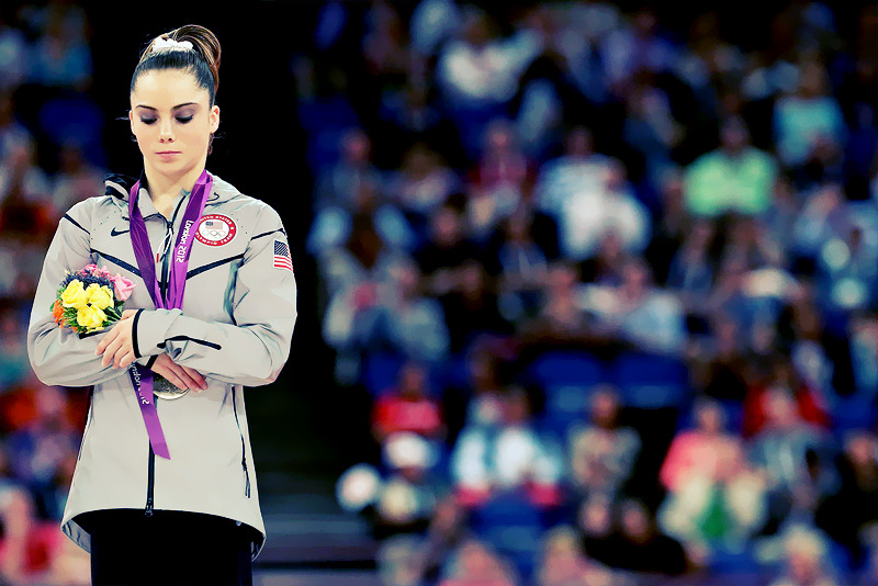 OLYMPICS DAY 8 A disappointed McKayla Maroney stands on the podium with her silver medal after failing to land her dismount in the Gymnastics Women's Vault finalPhoto by Ronald Martinez