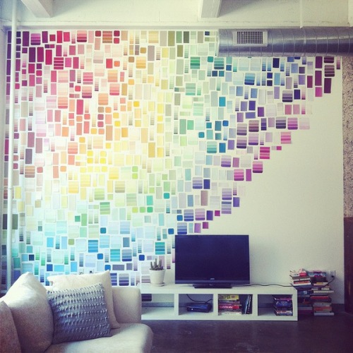 Such an awesome DIY idea! Takes an average white wall and makes it into a piece of art. Best part- super affordable!