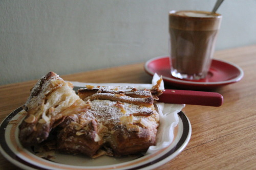 Almond croissant from Crumbs Organic Bakehouse - 16 Errol St, North Melbourne. Everything is vegan (apart from the white choc muffins - and they sell organic milk, honey and eggs). So many amazing options and the coffee was fantastic. The staff were extremely lovely also. Highly recommend.