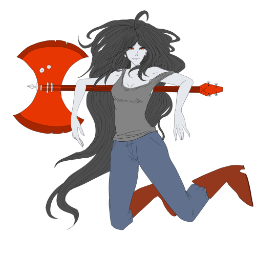 A W.I.P of Marceline the Vampire Queen All she needs is shading and shes done!