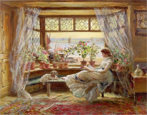 "Charles James Lewis -""Reading by the Window, Hastings"""