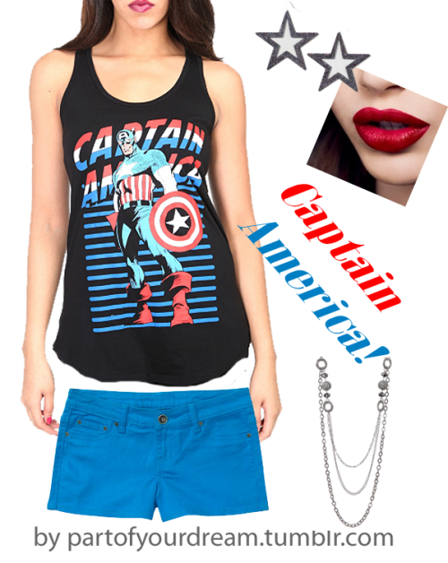Little fashion look I put together! <3 Tank: http://www.hottopic.com/hottopic/PopCulture/EverythingElse/ComicsAnimeCartoons//Marvel+Universe+Captain+America+Tank+Top-191236.jsp Earrings: http://www.claires.com/store/goods/Tweens/cat310271/Drops/p99392/Big-Star-Drops/ Necklace: http://www.rue21.com/3RW%20SHAMBALLA%20NECK?color=SILVER Shorts: http://www.walmart.com/ip/Red-Rivet-Juniors-Basic-Colored-Jean-Shorts/19349753 Tada