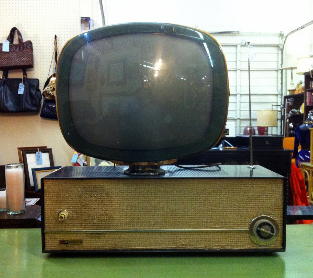 I think this is a Philco Predicta model TV from the late 1950s. I saw it at an antique shop here in Dallas last week for $400.00 and the tag said it works.