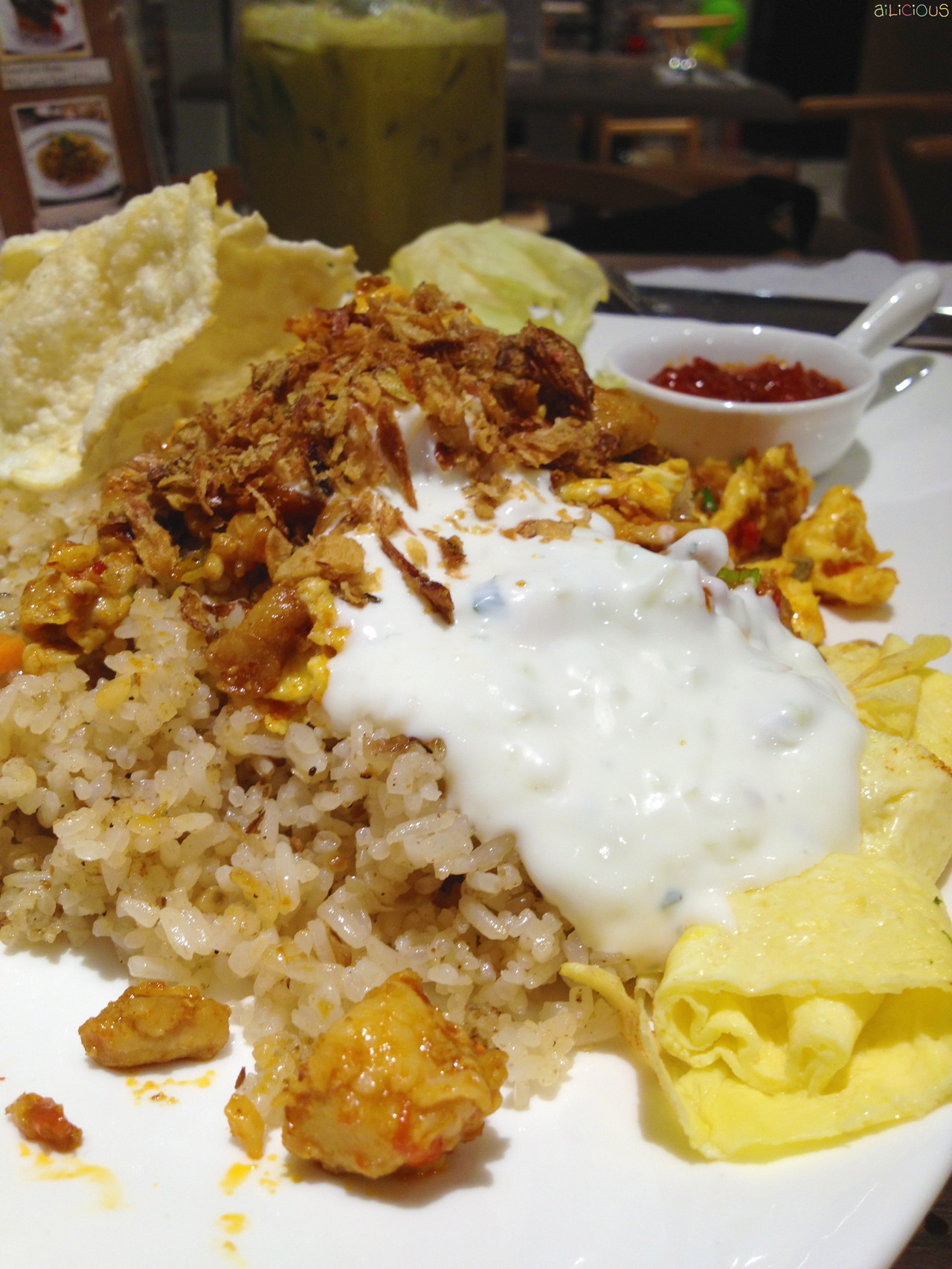 Sam & Jolly Na-Go-Yo! (Nasi Goreng Yogurt) - Fried rice with yogurt, surprisingly delicious! :D at first it thought it would taste weird and sour but turned out it was really tasty! A little bit spicy (yeah, we Indonesians do love spicy food) :p it comes with chicken, egg, emping, and sambal.