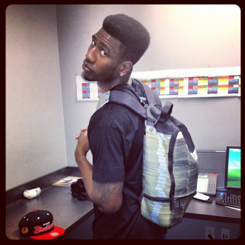 """Mobbin wit my @sprayground bookbag…bag of money…phool"""