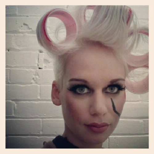 #Photoshoot today with #Artego #hair for the a #Canadian #hairdresser competition. #model #modelling #blonde #curlers #makeup #postapocalyptic #bestoftheday #picoftheday #instagramhub #instagram #greeneyes #edmonton #alberta  (Taken with Instagram)