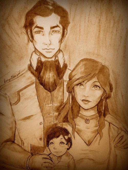 havesomakorra:  Makorra Family Portrait. This picture made me so happy when I was drawing it. I've always wanted to do something like this, but I've been too scared to. I really wanted to do an old timey 1920's-ish portrait of them like you see of Asami's family.  Makorra FEELS.