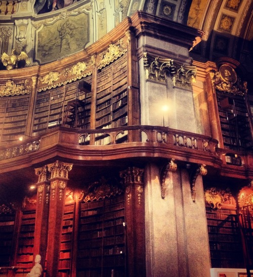 lostsplendor:  Bookshelves at the Österreichische Nationalbibliothek in Vienna, July 2012.
