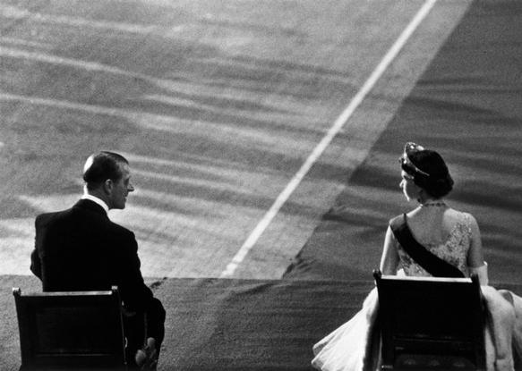 Queen Elizabeth II and Prince Phillip during the Queen's visit to the United States, 1957. By Cornell Capa