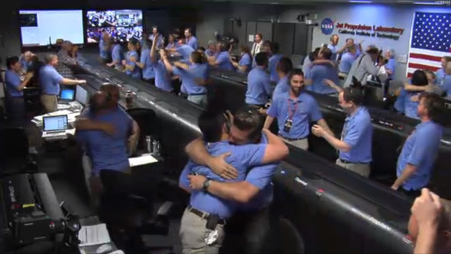 "kqedscience:  ""AND WE ARE SAFE ON MARS!"" NASA has erupted in cheers!   Awesome."