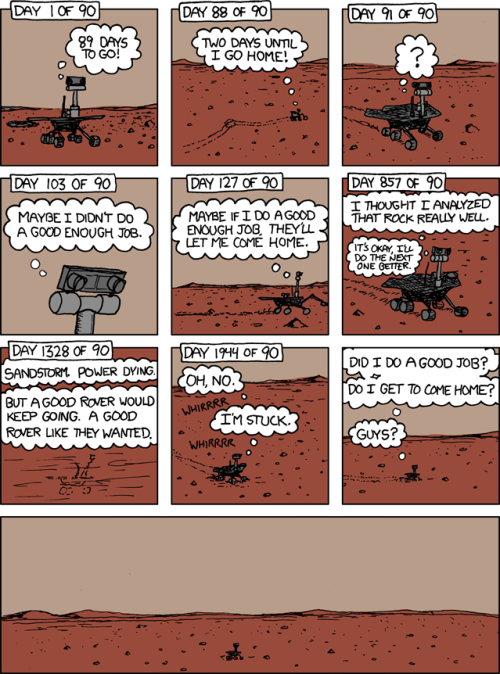 team-joebama:  The most important aspect of Curiosity landing successfully on Mars is that now Spirit won't be alone  Aw. We cried a little.