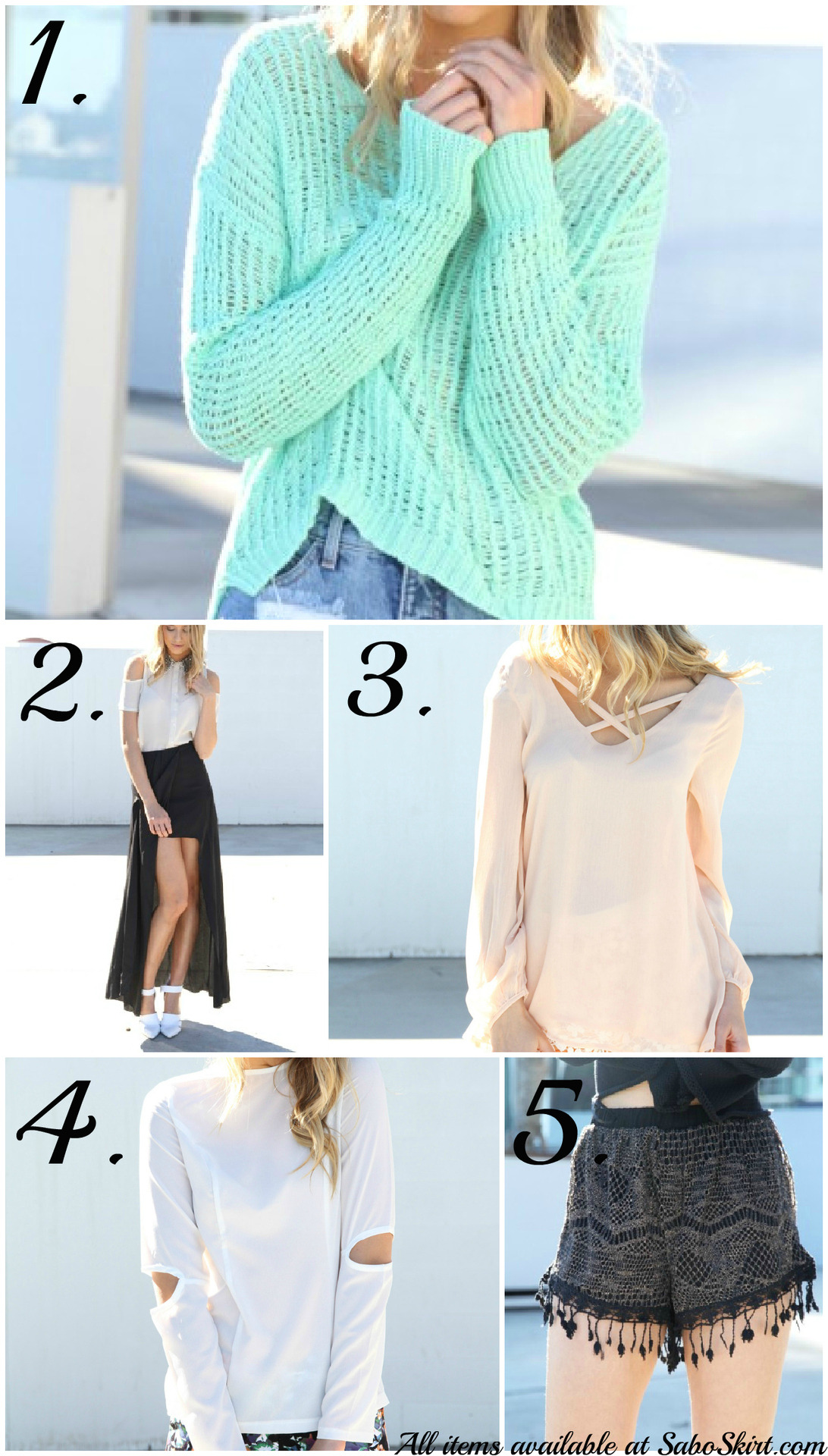 Wanted: Everything at SaboSkirt.com. I have recently become obsessed with the Australian shop and all of their on trend and unique goodies after seeing a friend post images of items she had ordered via Instagram. After sifting through every single item I noticed that not only do they offer the yummiest of hues throughout their stock but each piece is dripping in adorably fun details that make something like a sweater more than just a sweater.   They were kind enough to send me a few items and the quality was amazing. This saggy white knit was one of the items and it is so unbelievably soft and I cannot wait to wear it during my upcoming road trip to Nova Scotia on the cooler nights. I am 6' tall and I have wanted a soft fluttery maxi skirt for awhile but unless they are sheer and light weight it tends to look like too much. Luckily for me this adorable floral midi skirt was sent along with the knit and it couldn't fit more perfectly. The skirt also features two high slits, one over each leg so when you walk to flutters delicately around your legs, I really could't be happier.    Above are some of my current favourite covetable items in stock that I need to get my paws on immediately. Click the prices to go directly to the items listed! Long back mint knit - $52 Drape Maxi Skirt - $48 Apricot criss crop top - $48 Slit elbow top - $36 Black tassel shorts - $42  BlogLovin'   :     Twitter    :    Instagram: TheBlondeJournal