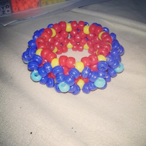 My first 3D Kandi cuff:) #Kandi #rave #PLUR #3D #cuff #red #yellow #blue  (Taken with Instagram)