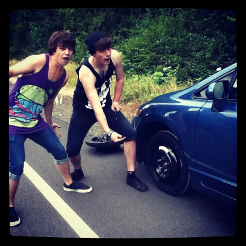 Awww yeah blown tire! (Taken with Instagram)